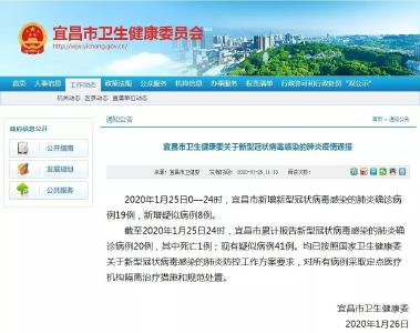 宜昌市卫生健康委关于新型冠状病毒感染的肺炎疫情通报