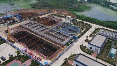 花湖污水处理厂一期二阶段加紧施工