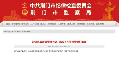沙洋县审计局党组书记、局长王在平接受组织审查