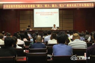 沙洋县召开《新时代党的宣传思想干部必须提升防范政治风险的能力》专题报告会