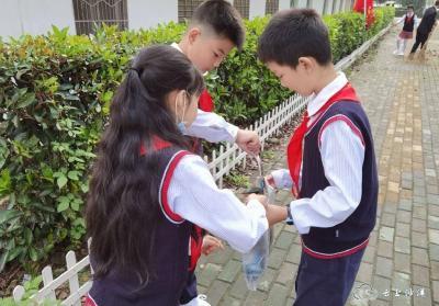 沙洋县洪岭小学:共创文明城 ,红领巾在行动