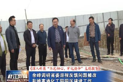 V视  余峰调研省委巡视反馈问题整改和姚家港化工园园区建设工作