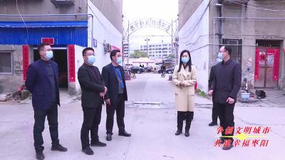 枣阳市委常委、宣传部长康丹检查督办创文工作