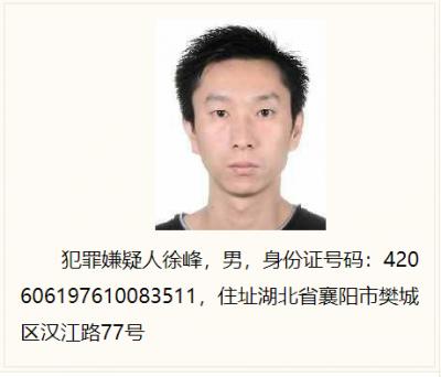 咸宁公安发布通告 督促襄阳籍涉黑逃犯徐峰投案自首