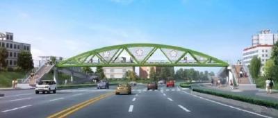 襄城区这座人行天桥即将完工!这些路段临时交通管制!