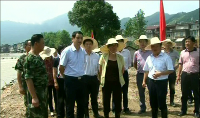 市委副书记刘海军到张榜镇指导抗洪救灾