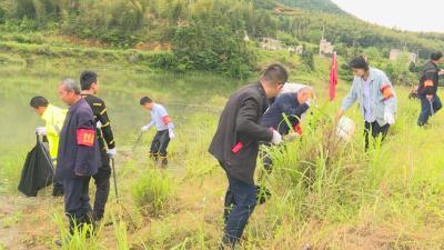 通城县马港镇:雨后干群齐上阵清理水源地保护区垃圾