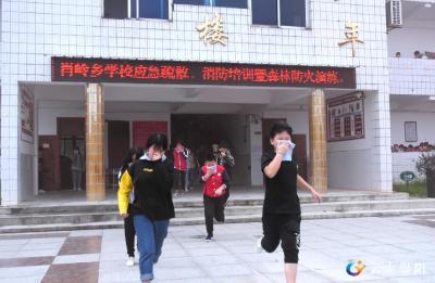 肖岭乡开展学校应急疏散、消防培训暨森林防火演练