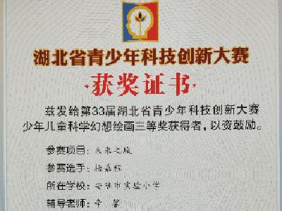 安陆市5名小学生荣获第33届湖北省青少年科技创新大赛大奖