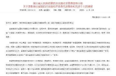 喜讯!安陆市人民政府第四次全国经济普查领导小组办公室荣获省级先进集体称号