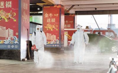 汉正街加强防疫消杀