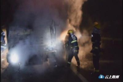 两车相撞漏油起火 消防火速排险