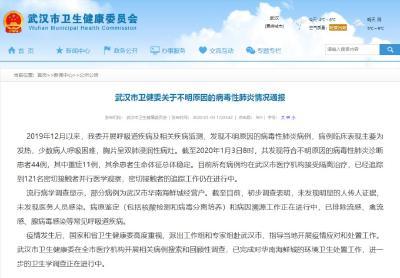 武漢市衛健委:發現不明原因病毒性肺炎重癥11例