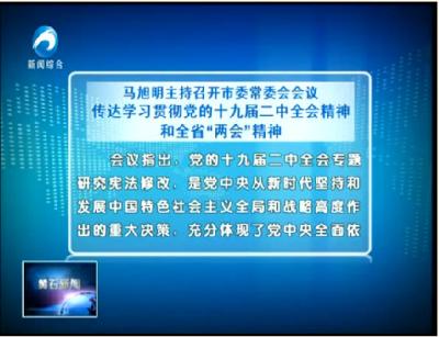 """马旭明:传达学习贯彻党的十九届二中全会精神和全省""""两会""""精神"""