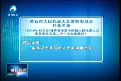 黄石市人民代表大会常务委员会任免名单