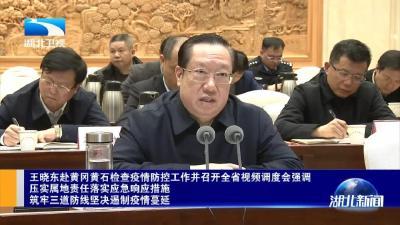 王晓东赴黄冈黄石检查疫情防控工作并召开全省视频调度会