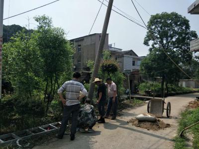 电杆倾倒存隐患 社区抢修保安全