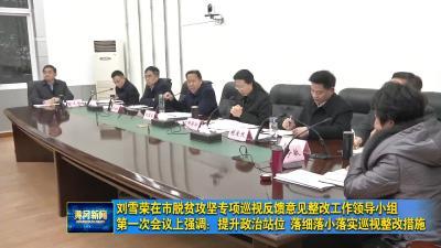 刘雪荣在市脱贫攻坚专项巡视反馈意见整改工作领导小组第一次会议上强调:提升政治站位 落细落小落实巡视整改措施