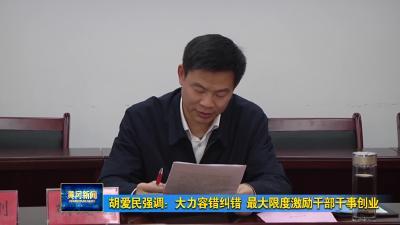 胡爱民强调:大力容错纠错 最大限度激励干部干事创业