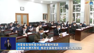 刘雪荣在领衔督办政协提案时强调 以提案办理为契机 推进全面脱贫和乡村振兴有效衔接