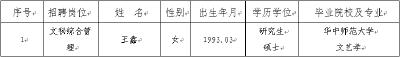 湖北省社科联直属事业单位湖北省社科信息中心2018年度公开招聘拟聘人员公示